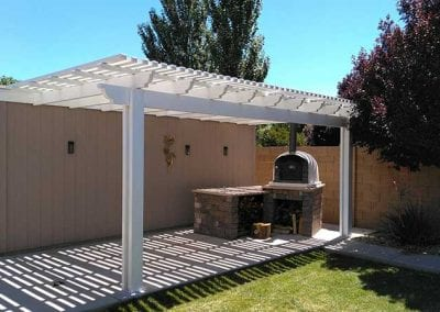 First picture of lattice patio cover with wood burning oven